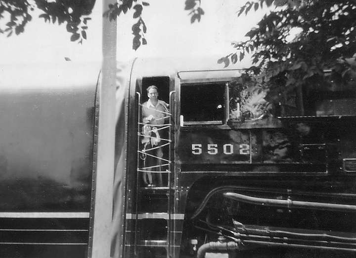 Ralph Bangert with a very young Larry Bangert in the cab of PRR T1 No ...
